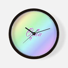 pink oma text Wall Clock