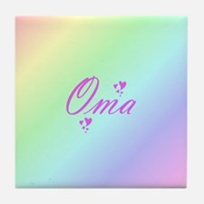 pink oma text Tile Coaster