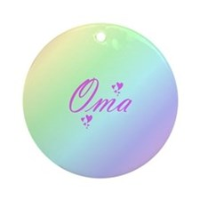 pink oma text Round Ornament