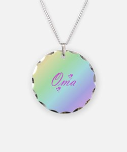 pink oma text Necklace