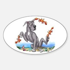 Great Dane Black Crabby Oval Decal
