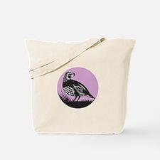 California Valley Quail Bird Circle Retro Tote Bag
