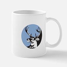 Whitetail Deer Buck Head Circle Retro Mugs