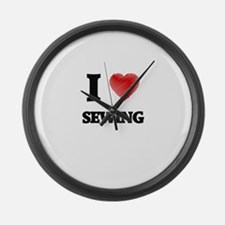 I Love Sewing Large Wall Clock