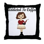 Addicted to Coffee Throw Pillow