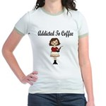 Addicted to Coffee Jr. Ringer T-Shirt