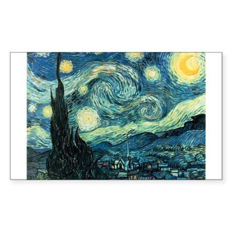 Van Gogh Starry Night Rectangle Sticker