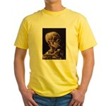 Van Gogh Skull with a Burning Cigarette Yellow T-S