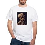 Van Gogh Skull with a Burning Cigarette White T-Sh