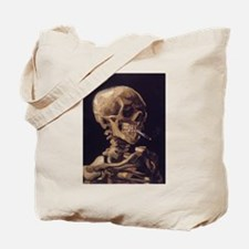 Van Gogh Skull with a Burning Cigarette Tote Bag
