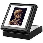 Van Gogh Skull with a Burning Cigarette Tile Box