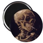 "Van Gogh Skull with a Burning Cigarette 2.25"" Magn"