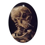 Van Gogh Skull with a Burning Cigarette Ornament (