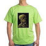 Van Gogh Skull with a Burning Cigarette Green T-Sh