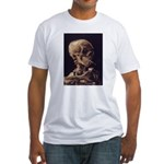 Van Gogh Skull with a Burning Cigarette Fitted T-S