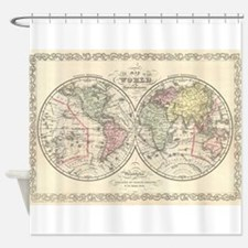 Vintage Map of The World (1856) Shower Curtain