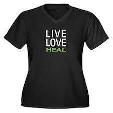 Live Love Heal Women's Plus Size V-Neck Dark T-Shi