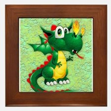 Baby Dragon Cute Cartoon Framed Tile