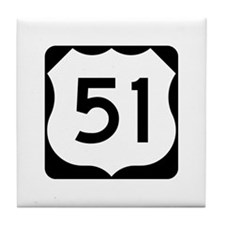 US Highway 51 Tile Coaster