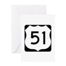 US Highway 51 Greeting Card