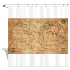 Vintage Map of The World (1833) 2 Shower Curtain