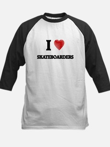 I Love Skateboarders Baseball Jersey