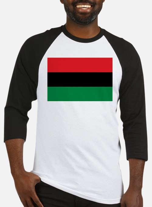 African American Flag - Red Black Baseball Jersey