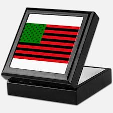 African American Flag - Red Black and Keepsake Box