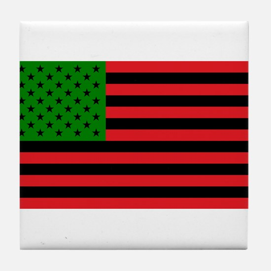 African American Flag - Red Black and Tile Coaster