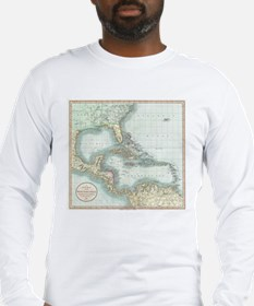 Vintage Map of The Caribbean ( Long Sleeve T-Shirt