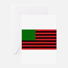 African American Flag - Red Black a Greeting Cards