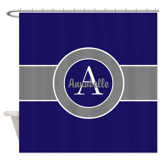 Dark navy blue gray monogram personalized shower c by for Kitchen colors with white cabinets with monogram stickers for cups