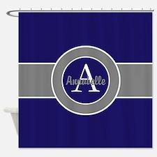 Dark Navy Blue Gray Monogram Personalized Shower C