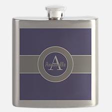 Dark Navy Blue Gray Monogram Personalized Flask