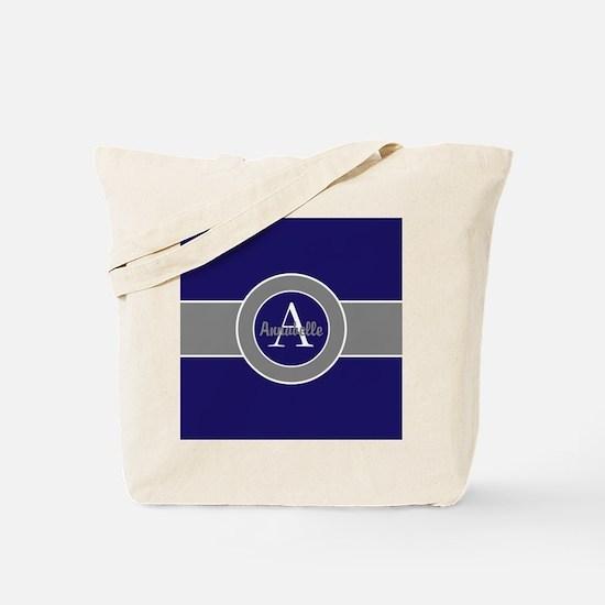 Dark Navy Blue Gray Monogram Personalized Tote Bag