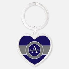 Dark Navy Blue Gray Monogram Personalized Keychain