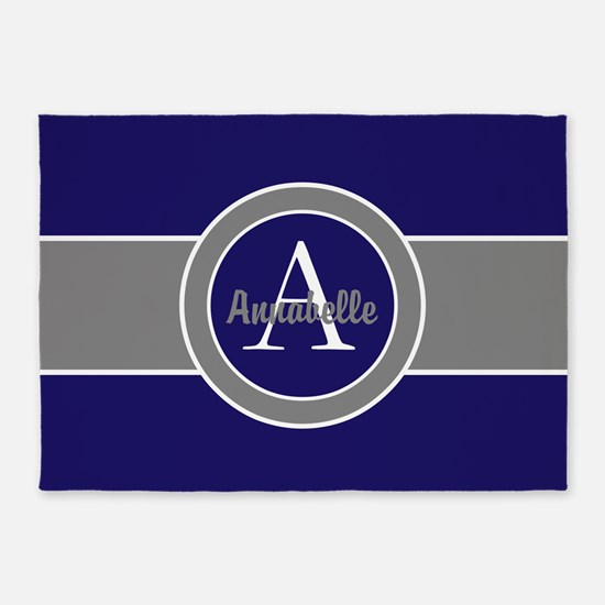 Dark Navy Blue Gray Monogram 5'x7'area Rug
