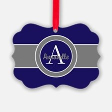 Dark Navy Blue Gray Monogram Personalized Ornament