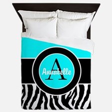 Turquoise Zebra Monogram Personalized Queen Duvet