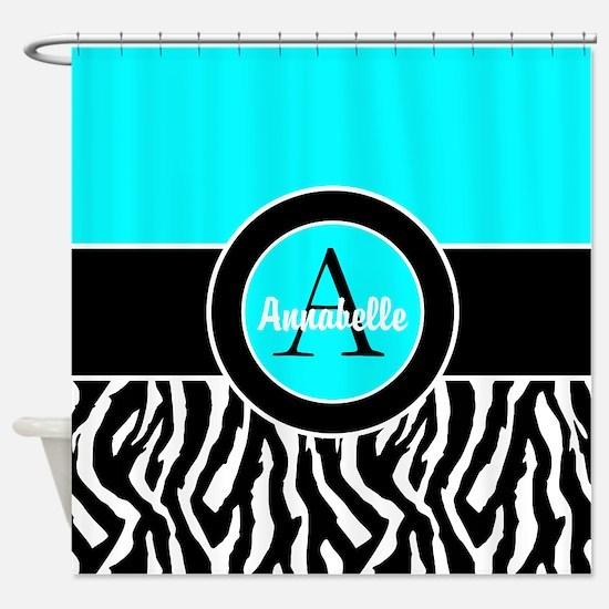 Turquoise Zebra Monogram Personalized Shower Curta