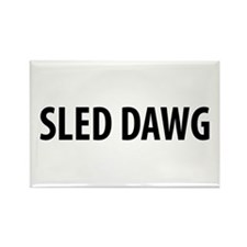 Sled Dawg Snowmobile Rectangle Magnet