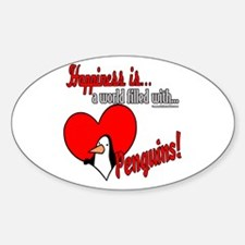 Happiness is penguins Oval Decal