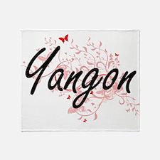Yangon Myanmar City Artistic design Throw Blanket