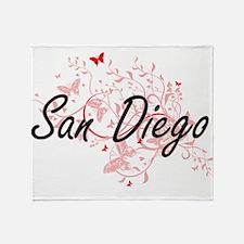 San Diego California City Artistic d Throw Blanket