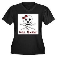 The Mad Hooker Logo Women's Plus Size V-Neck Dark