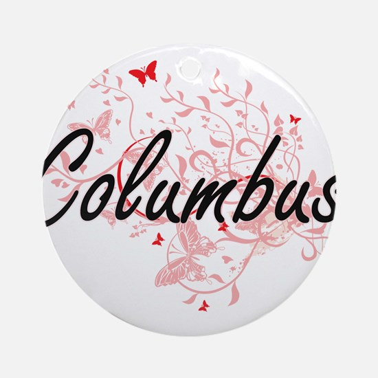 Columbus Ohio City Artistic design Round Ornament