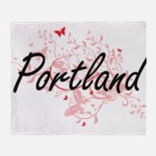 Portland Oregon City Artistic design Throw Blanket
