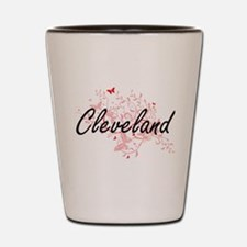 Cleveland Ohio City Artistic design wit Shot Glass