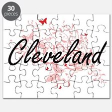 Cleveland Ohio City Artistic design with bu Puzzle