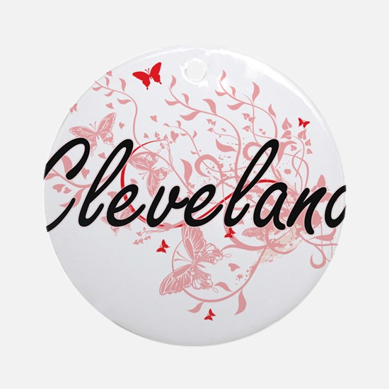 Cleveland Ohio City Artistic design Round Ornament